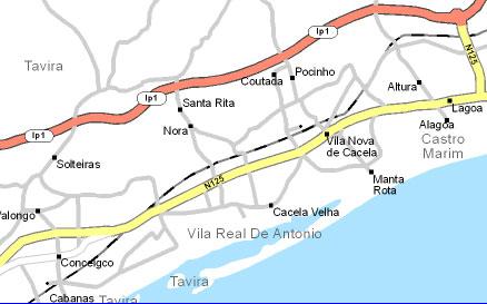 mapa de manta rota Este Algarve mapa de manta rota