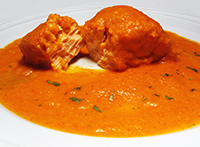 Salmon Fillet Served in a Creamy Piquillo Red Pepper Sauce